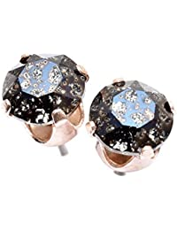 pewterhooter Rose Gold stud earrings expertly made with Black Patina crystal from SWAROVSKI®.