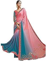 Aarti Apparels Women's Designer Embroidered Crepe, Chiffon Saree_Mogara-1707_Pink,Blue