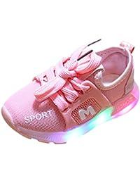 Zapatillas Niños Deportivas, Zolimx Bebe Niña Zapatos Recien Nacido Primeros Pasos Bordado LED Luz Suave y Luminosa Antideslizante Suela Blanda Zapatos