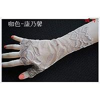 Shoutao - Guantes de protección solar cortos para cicatrices, sin dedos, guantes de conducción antideslizantes para pantalla táctil, color Color café 19 cm, tamaño talla única