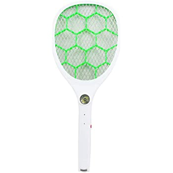White, Green Horsebiz USB Rechargable Mosquito Swatter Bug Fly Zapper with LED Flash Light for Indoor and Outdoor Pest Control
