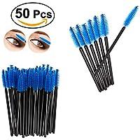 Vi.yo Cepillo de pestañas desechables Mujeres Niñas Pinceles Aplicador de Maquillaje Cepillo Kits Multi-uso Rizador de pestañas Mini Cepillo de Nylon 50 Unids / set size 10cm (Azul)