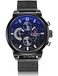 Naviforce reloj de hombres de moda deporte Militar analógico de acero inoxidable reloj de pulsera de cuarzo con fecha (blanco)