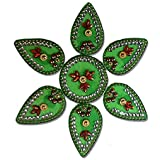 SBD Readymade Elegantly Designed Green Rangoli - With Round Shaped Base And Petal Shape Design Decorated With Multicolored Stones - 7 Pieces