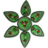 SBD Handmade Elegantly Designed Green Rangoli - With Round Shaped Base And Petal Shape Design Decorated With Multicolored Stones - 7 Pieces