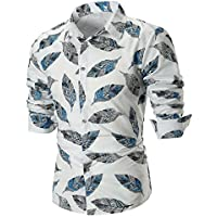 WWricotta Camisetas Hombre Manga Larga Originales Estampado de Pluma Casual Streetwear Negocio Slim Fit Camisa