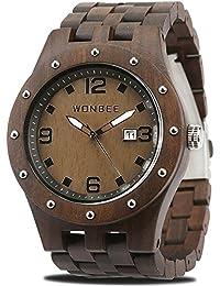 WONBEE Reloj De Madera para Hombres-Artesanía Artesanal Madera Relojes-Madera Reloj-Madera