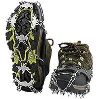 Terra Hiker Crampones con 18 Dientes-Pinchos Tacos de Tracción de Acero Inoxidable y Anti Deslizante en Hielo Estabilizadores para Caminar Correr Escalar sobre Nieve o Hielo Negro (L+: 42 - 47)