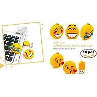 Lote de 10 Memoria USB Emoticonos Emojis 4 GB (Cadena no incluida) -Memorias USB Pendrive Originales Divertidos Infantiles, con formas y Baratos. Regalos, Detalles recuerdos bodas y Primera Comuniones. Fiestas Cumpleaños