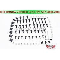 VITCIK Kit Completo de Tornillos y Pernos de Carenado para Honda VTR-1000 RC51 SP1 SP2 RVT1000R 2000 - 2006 Clips de Sujeción en Aluminio CNC de La Motocicleta (Negro & Plata)