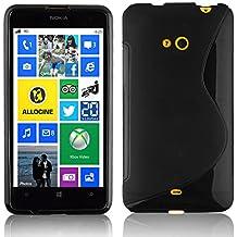Nokia Lumia 625 Custodia silicone TPU in NERO PROFONDO di Cadorabo (Disegno S) – Morbida Cover Protettiva Super Sottile con Bordo Protezione – Back Case posteriore Gomma Bumper antiurto originale Ultra Slim Gel Guscio flessibile fina thin