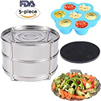 Accessories for Instant Pot - Stackable Stainless Steel Food Steamer Insert Pans, Vegetable Steamer Basket, Silicone Egg Bites Molds, Silicone Pot Holder, 4 pcs/set for 5,6,8QT Pressure Cooker