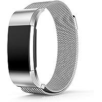Bracelet, Yustar tracker de fitness Accessoires Milanaise Fermoir Sangle de bracelet en acier inoxydable de rechange avec prise pour Fitbit Charge 2