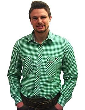 Trendiges Trachtenhemd Peine | Grün-Weiß kariert | Gr. M | Slim Fit | 100% Baumwolle | Spieth & Wensky | zünftig...