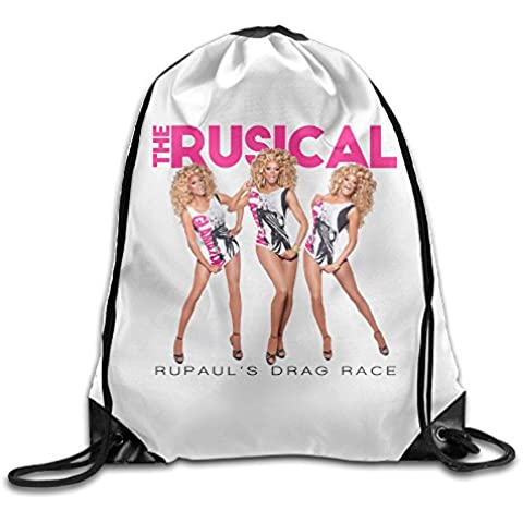 Canace Rupaul de arrastre carrera deportes al aire libre cordón bolsas mochila, Blanco, talla