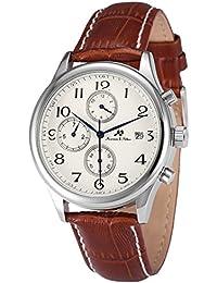 KS KS154 - Reloj Hombre Mecánico, Correa de Cuero Marrón, Calendario