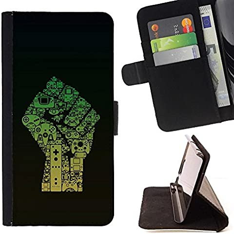 Momo Phone Case / Flip Funda de Cuero Case Cover - Caming Computer Art Dibujo Revolución Pu?o - Samsung Galaxy Core