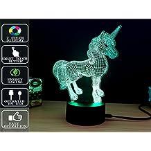 Unicornio Lámpara de mesa 3D Night Light Touch, Lámpara de mesa Fipart 7 Color Phantom Ambiance, Con Base Acrílica Y Luces LED Inteligentes Decorativas,Modo USB y alimentado por batería