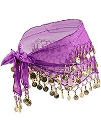 Gazechimp Bufanda de Cadera Envoltura Falda Danza de Vientre Estilo Indio Bohemia Decoración Vestido Hermoso - Púrpura