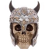Puckator SK220 Crâne de décoration portant Casque de viking Résine Beige/Gris/Noir 15,5 x 12 x 15 cm