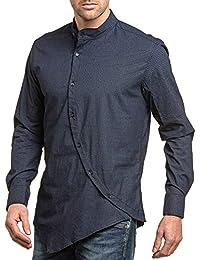 BLZ jeans - Chemise homme navy à motifs asymétrique