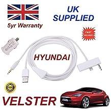 Hyundai VELSTER iphone 6conectividad audio 3.5mm AUX & USB Cable con adaptador de alimentación USB