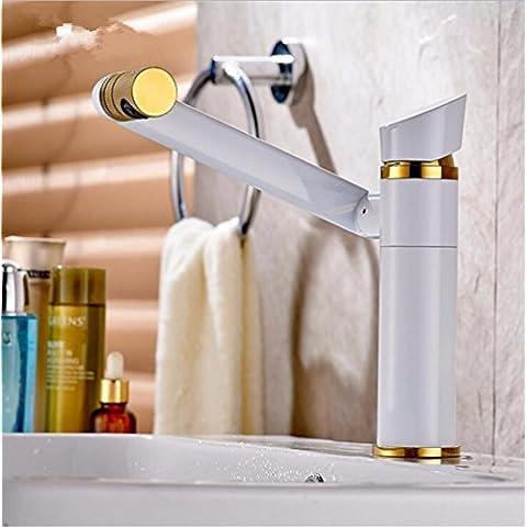 Modylee Bagno per lavello rubinetto rubinetto del bacino bianco gatto fortunato 360 gradi rotazione Maneki Rubinetti monocomando per freddo e rubinetto dell