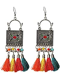 muccasacra Sterling Silver Fabric Rectangular Dangle Earrings for Women