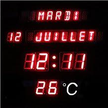 Horloge murale led - Horloge murale digitale led pile ...
