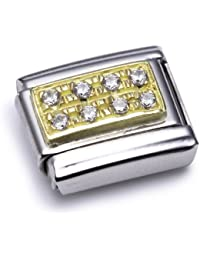 Nomination Comp. Classic PAVE Edelstahl, 18K-Gold und Cubic Zirc. (WEISS) 030314