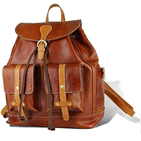 BAIGIO Zaino Unisex Uomo Donna Zainetto in Vera Pelle Borsa a Spalla Zaino Casual Backpack (I Migliori Bagaglio A Mano Viaggio)