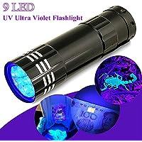MMRM aluminio UV Ultra Violet 9LED AAA linterna lámpara de bolsillo luz