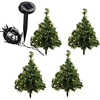 WeRChristmas Solar Powered Mini Christmas Trees with Ten Warm White LED Lights, 35 cm - Multi-Coloured, Set of 5