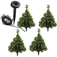 WeRChristmas Solar Powered Mini Christmas Trees Ten Warm White LED Lights, 35 cm - Multi-Coloured, Set of 5