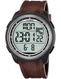 Calypso UK5704/7 - Reloj de pulsera de hombre deportivo, digital, correa de PU marrón, reloj de cuarzo, esfera negra