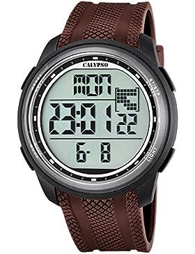 Calypso Herren-Armbanduhr Sport digital PU-Armband braun Quarz-Uhr Ziffernblatt schwarz UK5704/7