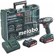 Metabo BS 18 Set Akku-Bohrschrauber inkl. Koffer + 2 Akkus 2.0Ah + Zubehör (602207880)