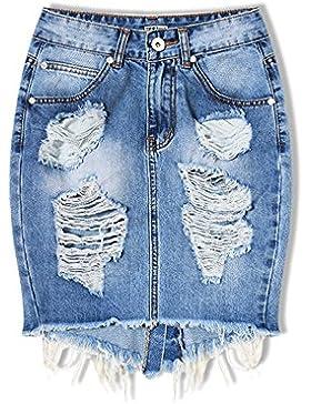 SaiDeng Gonna Di Jeans Minigonna Di Jeans Elasticizzato Con Elementi Effetto Destroyed