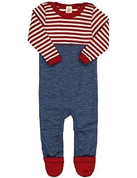Engel Natur, Baby Overall / Anzug mit Umschlag an den Beinen, 100% kbT Wolle