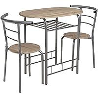 lifestyle4living Kleine Essgruppe, 3-teilig, Sonoma Eiche, Silber-Grau, oval | Platzsparende Esstisch-/Tischgruppe (Set 1 Tisch & 2 Stühlen) Ideal für kleine Küchen