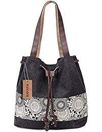 SAFATA Damen Handtasche Canvas Schultertasche Umhängetasche Damen Shopper Tasche Schöne Vintage Henkeltasche Beuteltasche
