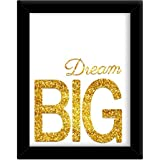 TIED RIBBONS 'Dream Big' Framed Poster (Synthetic Wood, 25.9 cm x 34.5 cm, Gold)
