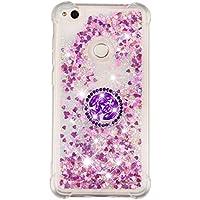 Funda Huawei P8 Lite 2017/Honor 8 Lite/P9 Lite 2017 TPU Silicona Purpurina Carcasa ,Funda para teléfono móvil de arena movediza líquida en forma de corazón con base de anillo de diamantes (Rosa roja)