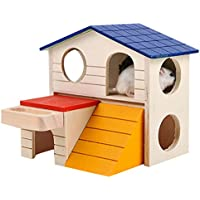 ROKOO Pet Small Animal Hideout Hamster House Deluxe Dos Capas Wooden Hut Play Toys