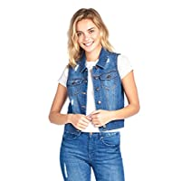 Blue Age Womens Denim Jean Jacket and Sleeveless Vest (M, V6001_MDBLUE).