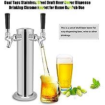 GOTOTOP Doble Taps Acero Inoxidable Torre de Cerveza Grifo de Cromo para Dispensar Bebidas para Uso