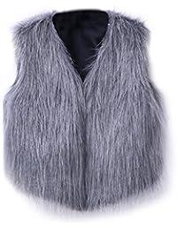 Blusas Escudo de piel sintética de chaleco sin mangas caliente de las mujeres