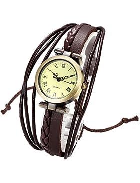 JSDDE Uhren,Vintage Damen Armbanduhr Bronze Rund Damenuhr Gewebte Wickelarmband Lederarmband Analog Quarz Uhr,...