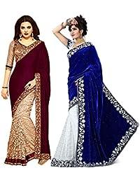 V-Art Women's Velvet & Net Saree With Blouse Piece (Savalcombo1_Blue)
