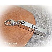 Schlüsselanhänger aus Edelstahl, Barren, Karabiner